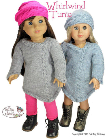 "Doll Tag Clothing Knitting Whirlwind Tunic 18"" Doll Knitting Pattern Pixie Faire"