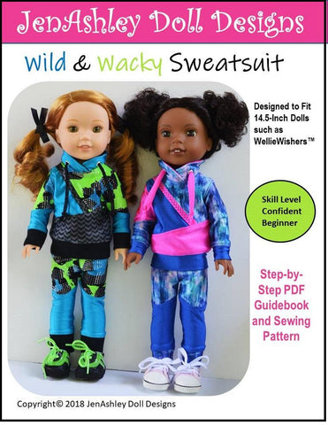 PDF sewing patern JenAshley Wild and Wacky Sweatsuit pants sweatshirt designed to fit 14.5 inch WellieWishers dolls