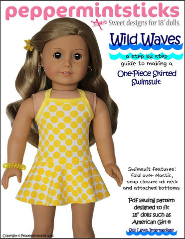 "Peppermintsticks 18 Inch Modern Wild Waves One-Piece Skirted Swimsuit 18"" Doll Clothes Pixie Faire"
