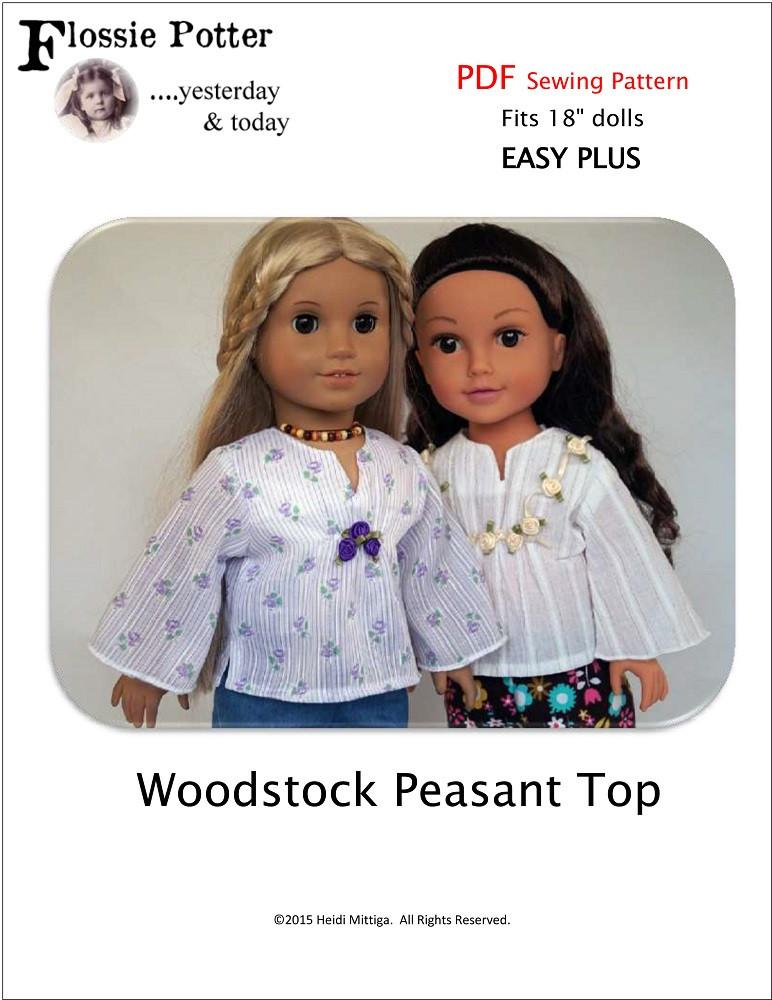 Flossie Potter Woodstock Peasant Top Doll Clothes Pattern 18 Inch American Girl Dolls Pixie Faire