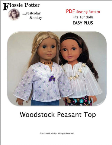 "Flossie Potter 18 Inch Modern Woodstock Peasant Top 18"" Doll Clothes Pixie Faire"