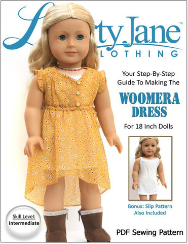 "Liberty Jane 18 Inch Modern Woomera Dress 18"" Doll Clothes Pattern Pixie Faire"