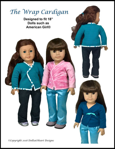 "Wrap Cardigan 18"" Doll Clothes Pattern"