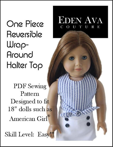 "Pixie Faire 18 Inch Modern FREE Wrap Around Reversible Halter Top 18"" Doll Clothes Pattern Pixie Faire"