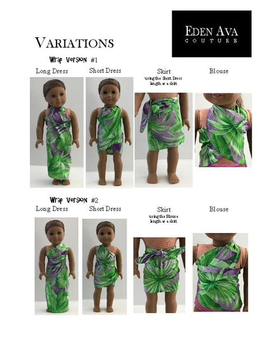 "Tropical Wrap and Tie Sarong Dress 18"" Doll Clothes Pattern"