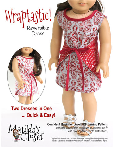 "Matilda's Closet 18 Inch Modern Wraptastic! Reversible Dress 18"" Doll Clothes Pixie Faire"