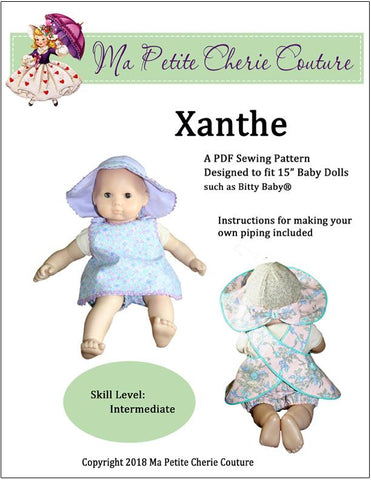 "pdf doll clothes pattern Xanthe sun dress hat designed to fit 15"" Bitty Baby"