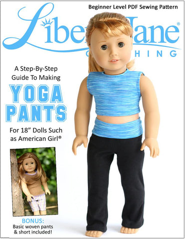 "Liberty Jane 18 Inch Modern Yoga Pants and Basic Pants 18"" Doll Clothes Pattern Pixie Faire"