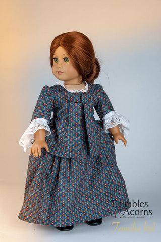 PDF doll clothes sewing pattern Thimbles and Acorns Young Martha Washington designed to fit 18 inch American Girl dolls