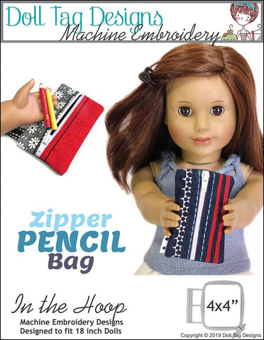 "Doll Tag Designs Zipper Pencil Bag 18"" Doll Machine Embroidery Designs"