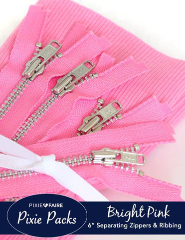 "Pixie Packs 6"" Separating Zipper and Ribbing Set - Bright Pink"