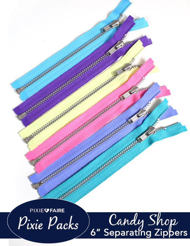 "Pixie Packs 6"" Separating Zippers - Candy Shop"