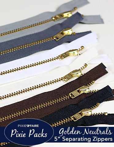 "Pixie Packs 5"" Separating Zippers - Golden Neutrals"