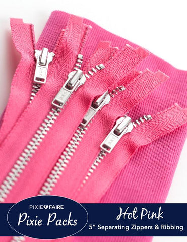 "Pixie Packs 5"" Zipper and Ribbing Bundle - Hot Pink"