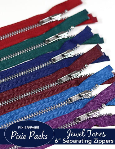 "Pixie Packs 6"" Separating Zippers - Jewel Tones"