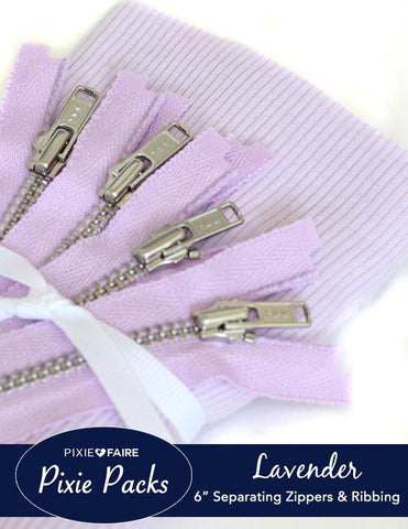 "Pixie Packs 6"" Separating Zipper and Ribbing Set - Lavender"