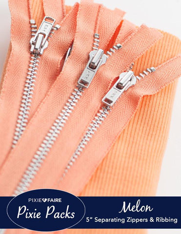 "Pixie Packs 5"" Zipper and Ribbing Bundle - Melon"