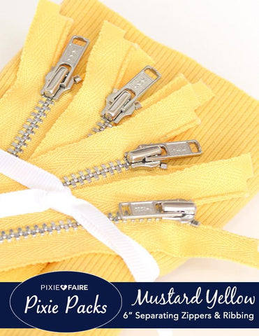 "Pixie Packs 6"" Separating Zipper and Ribbing Set - Mustard Yellow"