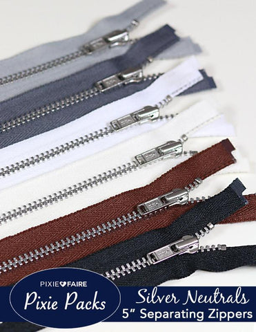 "Pixie Packs 5"" Separating Zippers - Silver Neutrals"