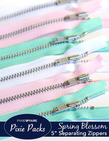 "Pixie Packs 5"" Separating Zippers - Spring Blossom"