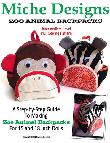 "Miche Designs 18 Inch Modern Zoo Animal Backpacks 18"" Doll Accessories Pixie Faire"