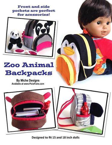 "Zoo Animal Backpacks 18"" Doll Accessories"