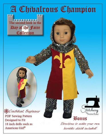 PDF doll clothes sewing pattern Stitchery By Snowflake A Chivalrous Champion knight costume designed to fit 18 inch American Girl boy dolls