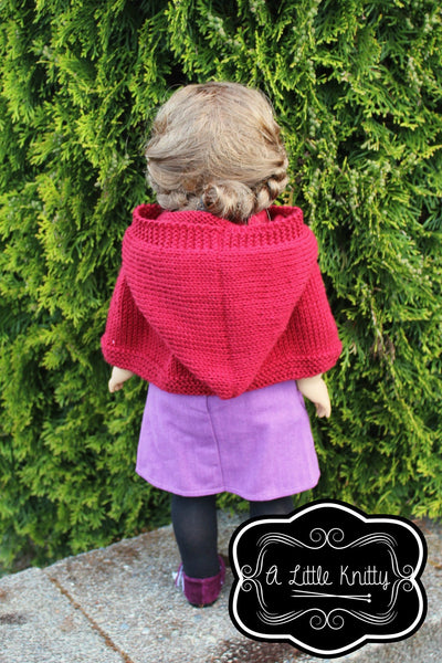 A Little Knitty Addy Hooded Cape Doll Clothes Pattern 18