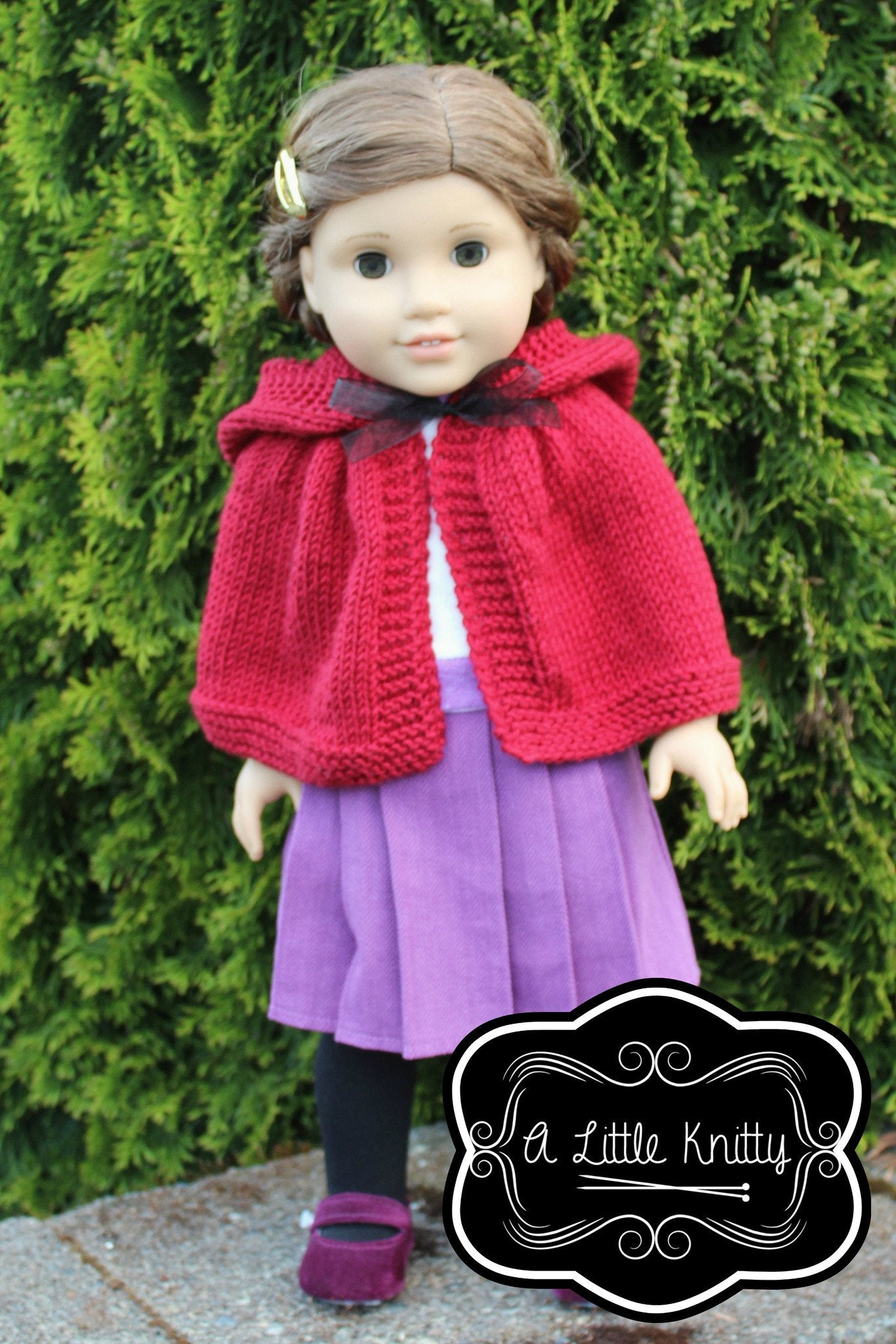 A little knitty addy hooded cape doll clothes pattern 18 inch addy hooded cape knitting pattern bankloansurffo Image collections