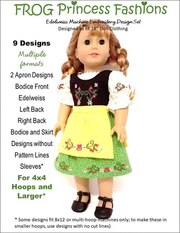 Frog Princess Fashion edelweiss machine embroidery design set for 18 inch American Girl doll clothes