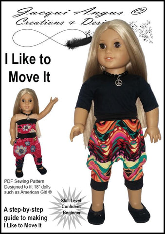 "Jacqui Angus Creations & Designs 18 Inch Modern I Like To Move It - Harem Slacks and Jumper 18"" Doll Clothes Pattern Pixie Faire"