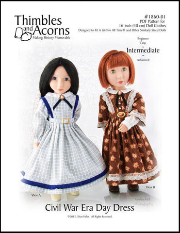 1860 Civil War Era Day Dress Pattern for AGAT Dolls
