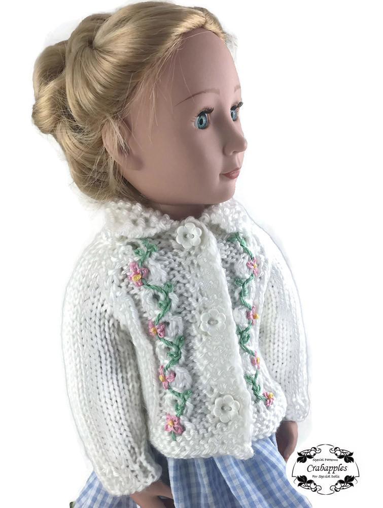 Crabapples Eyelet Cable Cardigan Doll Clothes Knitting Pattern 16