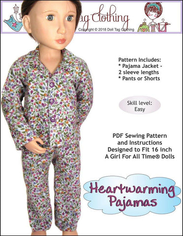 PDF doll clothes sewing pattern Doll Tag Clothing Heartwarming pajamas designed to fit 16 inch A Girl For All Time Dolls