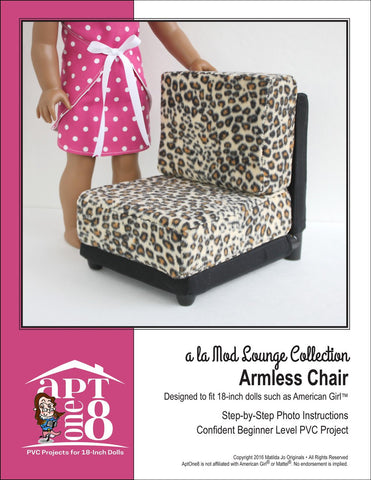 "AptOne8 18 Inch Modern a la Mod Lounge Collection: Armless Chair PVC Pattern for 18"" Dolls Pixie Faire"