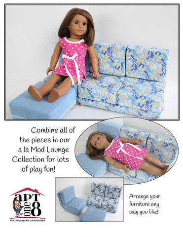 "a la Mod Lounge Collection: Armless Chair PVC Pattern for 18"" Dolls"