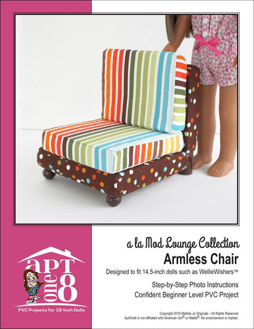 "AptOne8 WellieWishers a la Mod Lounge Collection: Armless Chair PVC Pattern for 14.5""  Dolls Pixie Faire"