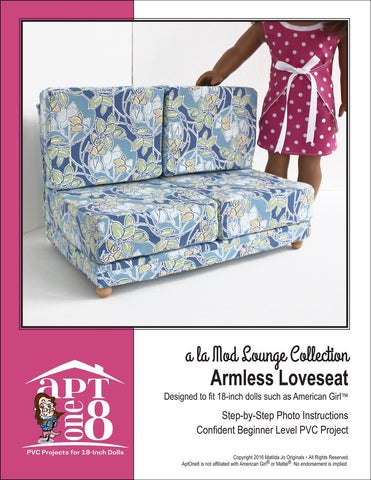"a la Mod Lounge Collection: Armless Loveseat PVC Pattern for 18"" Dolls"