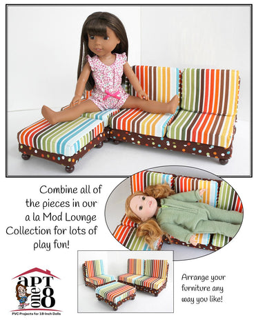 "a la Mod Lounge Collection: Armless Loveseat PVC Pattern for 14.5"" Dolls"