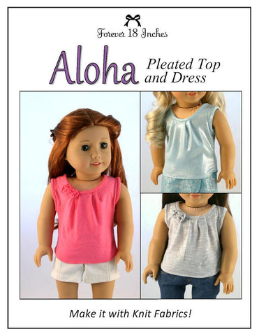 "Aloha Pleated Top and Dress 18"" Doll Clothes Pattern"