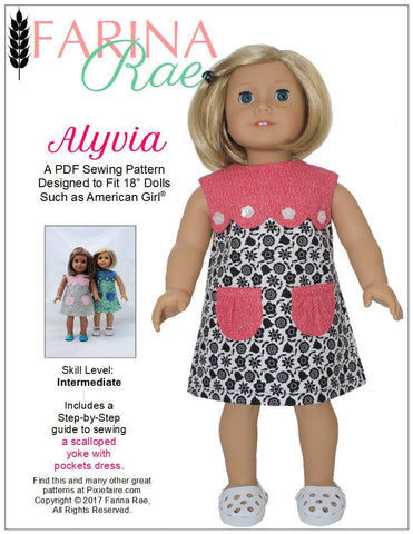 "Farina Rae 18 Inch Modern Alyvia Dress 18"" Doll Clothes Pattern Pixie Faire"