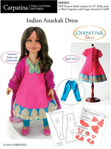 "Indian Anarkali Dress Multi-sized Pattern for Regular and Slim 18"" Dolls"