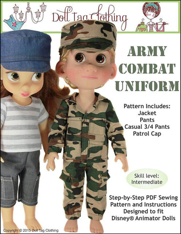 Army Combat Uniform Pattern for Disney Animator Dolls