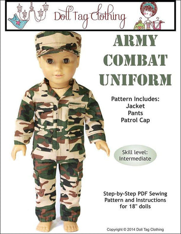 "Doll Tag Clothing 18 Inch Modern Army Combat Uniform 18"" Doll Clothes Pattern Pixie Faire"