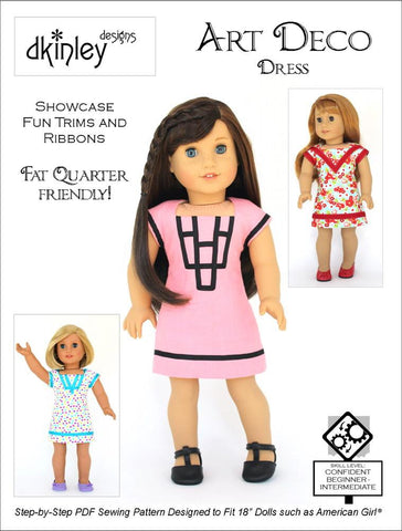 "Dkinley Designs 18 Inch Modern Art Deco Dress 18"" Doll Clothes Pattern Pixie Faire"