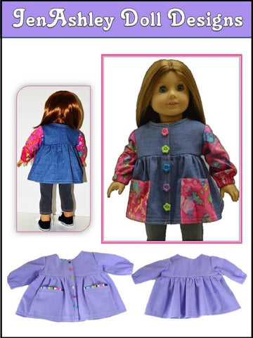 "Let's Paint Artist Smock 18"" Doll Clothes Pattern"