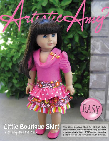"Little Boutique Skirt 18"" Doll Clothes Pattern"