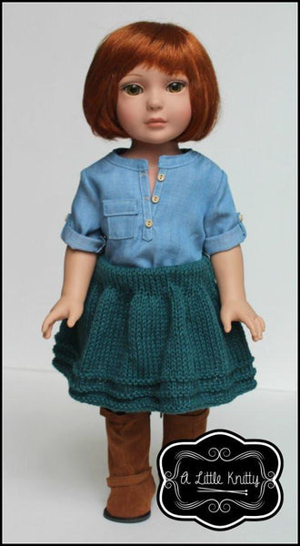 A Little Knitty Avery Skirt Doll Clothes Pattern 18 Inch