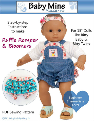 "Baby Mine Bitty Baby/Twin Ruffle Romper and Bloomers 15"" Baby Doll Clothes Pattern Pixie Faire"
