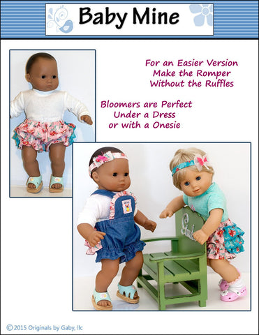 "Ruffle Romper and Bloomers 15"" Doll Clothes Pattern"